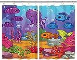 JISMUCI Cortinas para Cocina Underwater World Acuario Dibujos Animados Pulpo Arrecife Algas Piedras Burbujas Cortinas de Ventana Ganchos Juego de 2 Paneles para decoración de café de casa 140x100CM