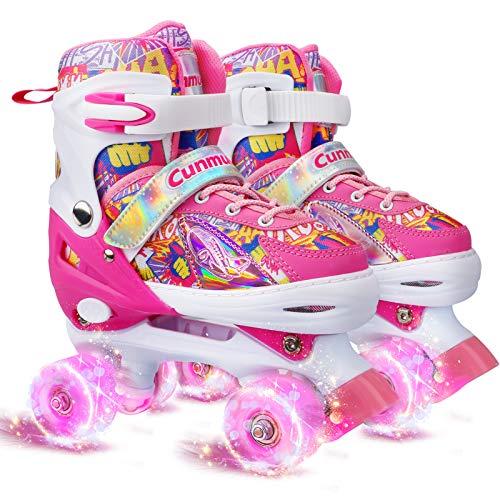Cunmucu Roller Skates for Girls and Boys, Women and Men, 4 Size Adjustable Adult Kids Toddler Roller...