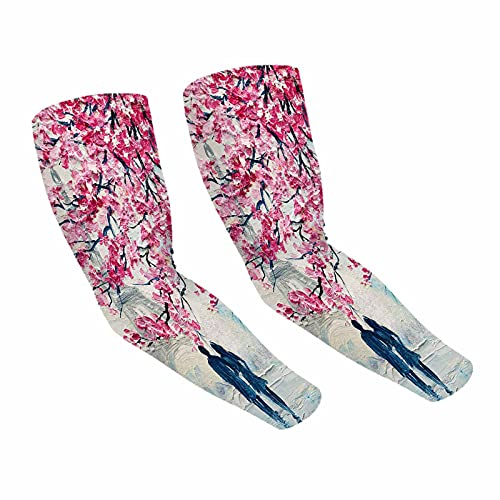 Beabes Love Couple Floral Tree Cooling Arm Sleeves Sun Protection Romantic Eiffel Tower Peony Flower Foliage Street Compression Sleeves Arm Covers For Cycling Running Fishing Hiking