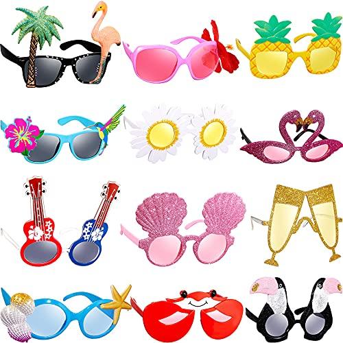 12 Paare Luau Party Brille Hawaiianische Lustige Brille Tropische Kostüm Requisiten für Sommer Party Zubehör Spaß Sommer Kinder Gastgeschenke Strand Thema Party Zubehör Dekoration