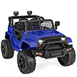 Best Choice Products 12V Kids Ride On Truck Car w/Parent Remote Control, Spring Suspension, LED Lights, AUX Port - Blue