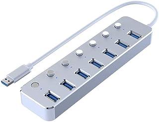JUNPE Hub USB Hub HUB Lega di Alluminio Ampia Compatibilità USB HUB 3.0 Hub 5G BPS Extender Drive-Free 7-Porta USB (Color...