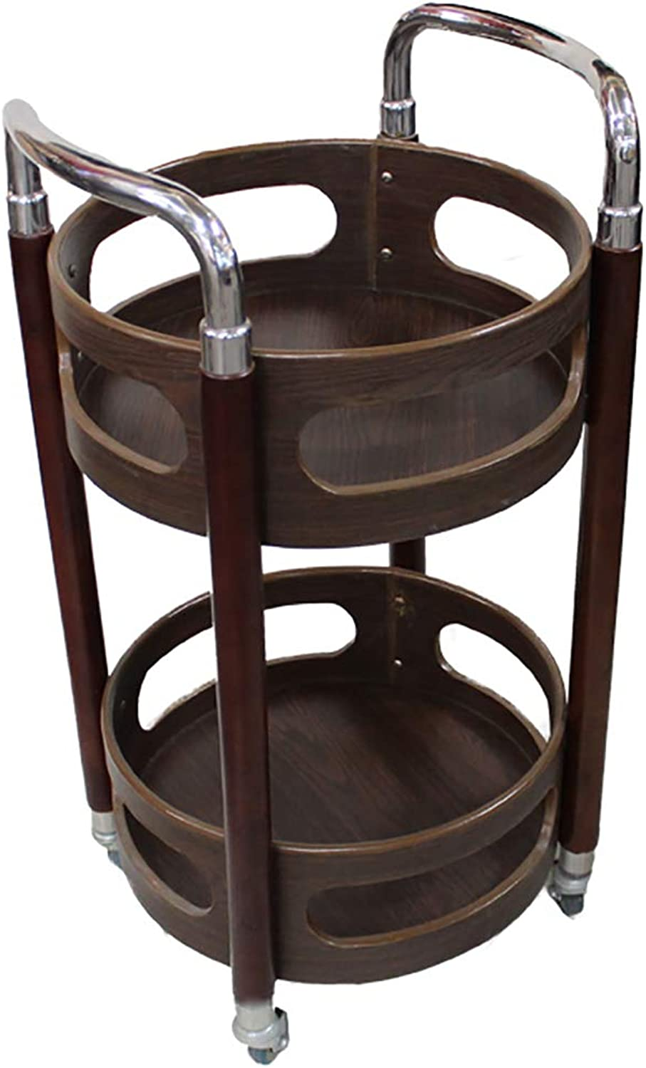 Storage Serving Trolley, Multifunction Utility Metal Solid Wood Cart, Moving Wine Cart Tea Cart, for Home Kitchen Hotel Restaurant 4 Styles