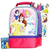 Disney Princess Lunch Bag Set for Girls - Bundle with Deluxe Dual Compartment Insulated Princess Lunch Box and Disney Princess Stickers (Disney Princess School Supplies)