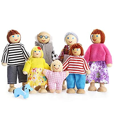 Kids Girls Lovely Happy Family Dolls Playset Wooden Figures Set of 7 People for Children House Pretend Gift from Playtee