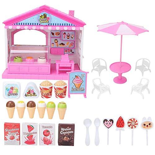 Juguete educativo Juguete de helado Juguete de hamburguesa Juguete de plástico encantador Mini ensamblar Tienda de juguete por encima de 3 años Regalo para niños(ice cream shop)