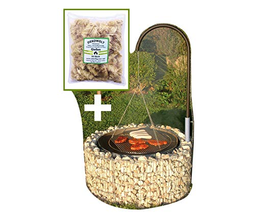 Bellissa Feuer und Grillstelle Ø 92cm inkl. 50 Anzünder + Grillgalgen und Ketten Grillrost Gabione Grill Galgengrill von Dekowelt