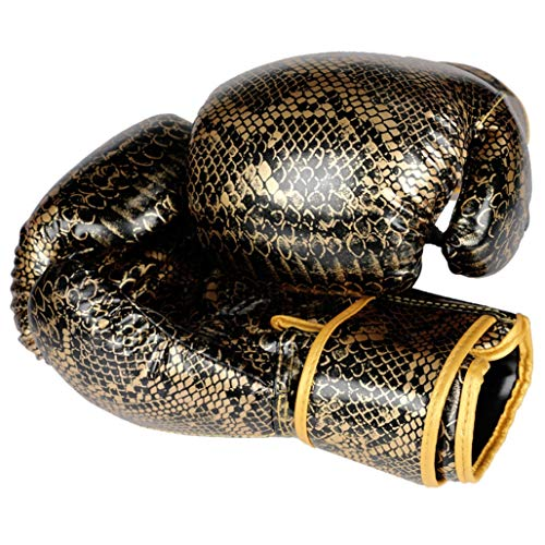 LBYSK Boxen Sanda Adult Muay Free Fight Kämpfen Fitnesstraining Wettbewerb großen Profi-Mesh-Breathable PU Boxhandschuhe Leder,Gold,8oz