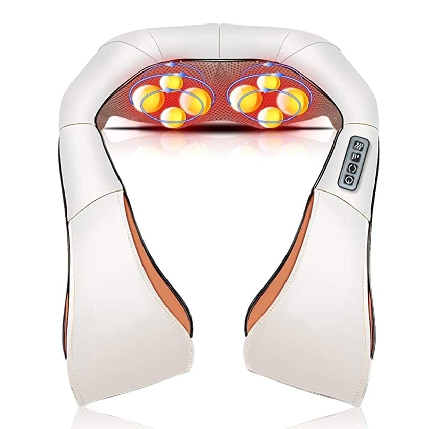 免除ここに波紋電動ネックマッサージ、多機能加熱/振動マッサージ、調節可能な筋力、背中、肩、足、足、痛みの緩和に適しています