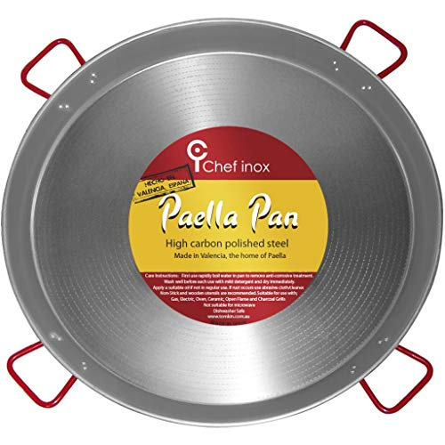 La Ideal Polished Steel Paella Pan, 35 1/2-Inch, Gray/Red