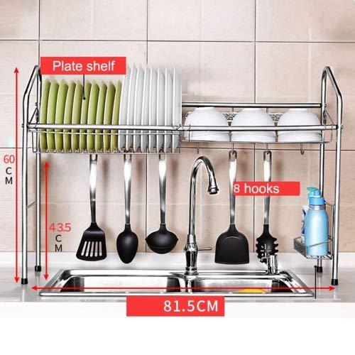 BOBE SHOP- Étagère multifonctionnelle de cuisine avec 8 crochets - étagère de plat d'acier inoxydable de la couche 304 simple/étagère de drain/plateau de plat/étagère de cuillère (taille : A)