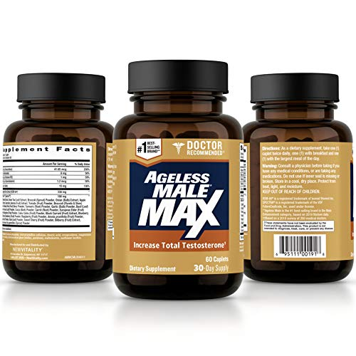 Ageless Male Max Total Testosterone Booster for Men – Reduce Fat Faster Than Exercise Alone & Increase Nitric Oxide with Powerful, Safe Total Test Booster (60 Caplets, 1-Bottle)