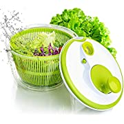 AnGeer Salad Spinner Large Multifunction 4.5 Quart Design BPA Free,Manual Good Grips Crank Handle & Locking Fruits and Vegetables Dryer Dry Off & Drain Lettuce Quick Spinner
