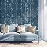Decoroom Klebefolie Selbstklebende Blaue Geometrische 45 x 300cm Wasserdicht Möbelfolie Küchenschrank Tischplatten Küchenfolie Wandschutzfolie DIY Dekorfolie