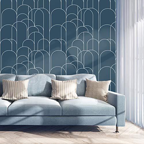 Papel Adhesivo para Muebles Azul Geométricas 45cm X 3m Vinilo Impermeable Pegatina...