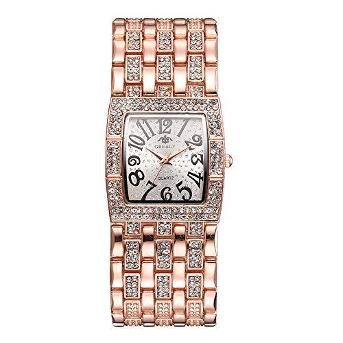 GJHBFUK Reloj De Cuarzo Reloj De Aleación De Moda Reloj De Cuarzo Cuadrado Dial Forma Rhinestone Female Reloj Femenino (Oro Rosa)