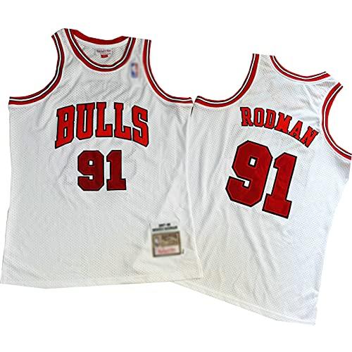 ZRBP # 91 Bulls Rodman Uniformes de Baloncesto para Hombres, Uniformes de Equipo, Camisetas Deportivas, Chalecos, Blusas sin Mangas, Letras y números Personalizados suelt S