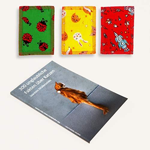 Joli Moulin Geschenk Set 3 Katzenminze Kissen mit Buch \'300 Fakten über Katzen\' Spaß für die Katze und Spaß für den Menschen, Katzenspielzeug Schmusekissen Catnip