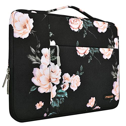 MOSISO Laptop Sleeve Compatible with MacBook Pro 16 inch, 15 inch 15.4 inch 15.6 inch Dell Lenovo HP Asus Acer Samsung Sony Chromebook, Polyester Multifunctional Briefcase Protective Bag,Apricot Peony