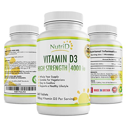 Vitamin D3 4000iu Micro-Tablets - High Strength Vitamin D 365 Tablets, Full Year Supply - Suitable for Vegetarian, Supports Bone Health, Muscle, Skin and Immune System