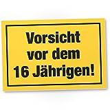 DankeDir! Vorsicht vor dem 16 Jährigen Kunststoff Schild - Geschenk 16. Geburtstag Jungs Geschenkidee Geburtstagsgeschenk Sechzehnten Geburtstagsdeko Partydeko Party Zubehör Geburtstagskarte