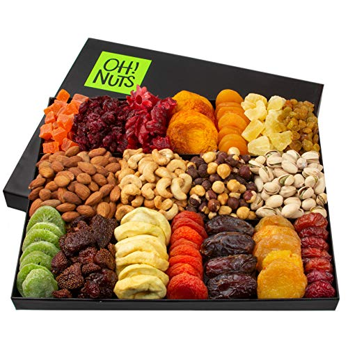 Oh! Nuts 18 Variety Nut & Dried Fruit Gift Basket | Fathers Day Healthy Gift Basket | Gourmet Holiday Family Gift Box - Food Snack Set Ideas for Christmas, Birthday Gifts