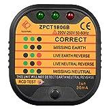 Socket Tester, Steckdosentester mit Kontrollleuchten-Anzeige, 220-250V, CE CAT II 600V ROH, Steckdosenprüfer, Diagnose-Stecker