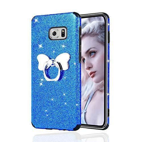 Misstars Brillantini Glitter Cover per Galaxy S6 Edge, Bling Scintillante Morbida TPU Silicone Custodia Antiurto e Antiscivolo Protettivo Cover con Farfalla Anello per Samsung Galaxy S6 Edge, Blu