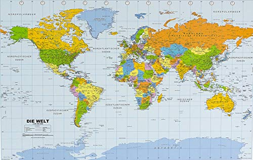 Politische Weltkarte in deutsch als Poster, ca. 90x61cm: Maßstab 1:46.400.000 Mio.