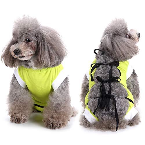 SELMAI Recuperación del Perro Alternativa de Cuello Traje de Cuerpo para Gato Cachorros Caninos Mascota Trajes de Recuperación Quirúrgica para Enfermedades De La Piel Heridas Anti Lamiendo Verde XS