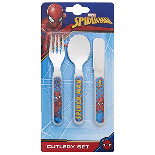 Marvel Spider-Man Pop Re-usable Childrens 3pc Cutlery Knife Fork Spoon Set, Stainless Steel