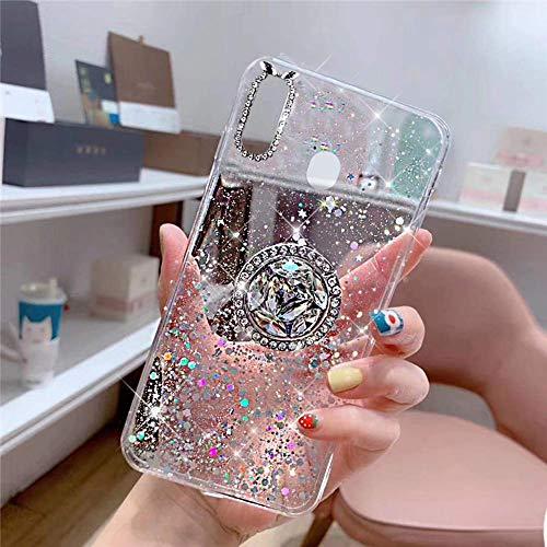 Herbests Kompatibel mit Samsung Galaxy M20 Hülle mit Ring Halter Ständer Glänzend Bling Strass Glitzer Stern Transparent TPU Silikon Schutzhülle Handyhülle Tasche Crystal Clear Case,Klar