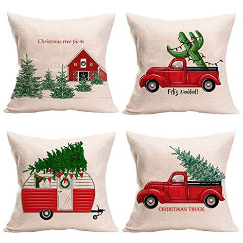 Amosfun 4Pcs Christmas Throw Pillow Cover Xmas Tree Printed Sofa Back Throw Cushion Cover Rustic Pillow Case For Winter Holiday(Random Pattern)