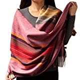 Cashmere Scarf Shawl for Men Women Big Blanket Scarfs Wraps Super Soft Warm Pashmina Scarves Black Ivory Pink Grey Yellow Navy Evening Wedding Dresses Shawls 72In X 25In (Red Plaid)