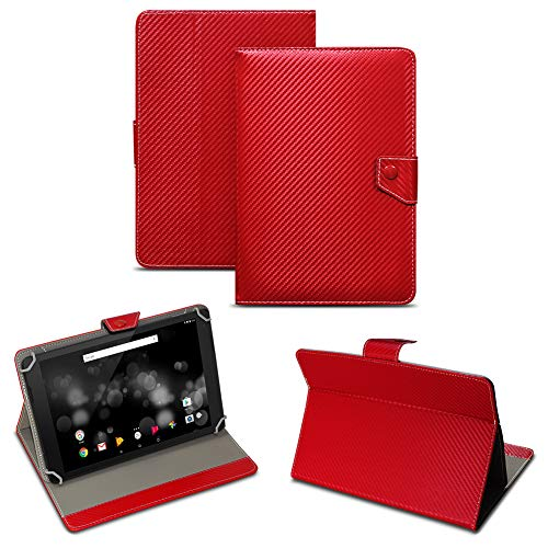 NAUC Archos 101 Platinum 3G Tablet Tasche Carbon-Design Schutzhülle Hülle Case Cover, Farben:Rot