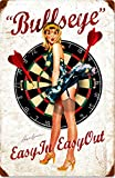 ZMKDLL Bullseye Easy in Easy Out Vintage Blonde Pin-up Darts Metal Sign 12'x8'