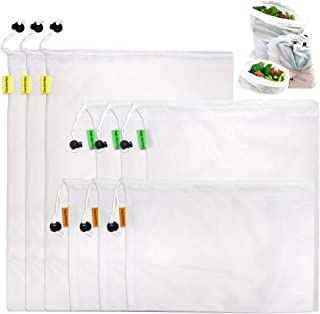 "Reusable Produce Mesh Bags with drawstring, Set of 9 Premium Washable Eco Friendly Bags 3 Different Sizes 12x17"", 12x14"", 12x8"" for Fruit, Veggies, Fridge Organizing, Toys & Books."