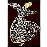 MULMF Islam Arabische Kalligraphie Muslimische Wandkunst Wirbelnder Derwisch Leinwand Gemälde Islamisches Dekor Druck Mevlana Rumi Leinwand- 50X70Cm Kein Rahmen