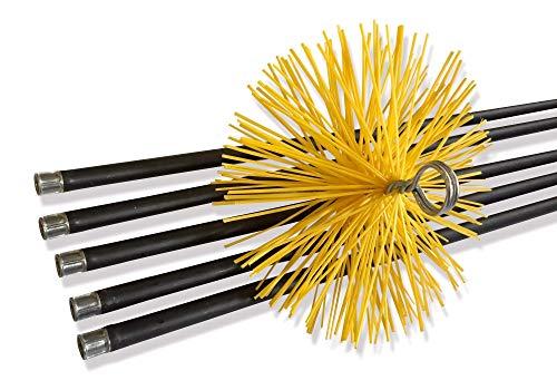 Kit de ramonage conduits gainés | Brosse hérisson synthétique | Diamètre 150 mm | 7 mètres en 5 cannes de 1,40 m | Cheminées poêles chaudières canalisations gouttières | Kibros 4KIT15Nb