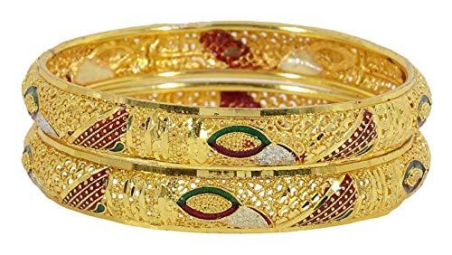 Banithani Traditionelle Hochzeit Vergoldet 2 PC-Armband-Frauen-Schmucksachen 2 * 6