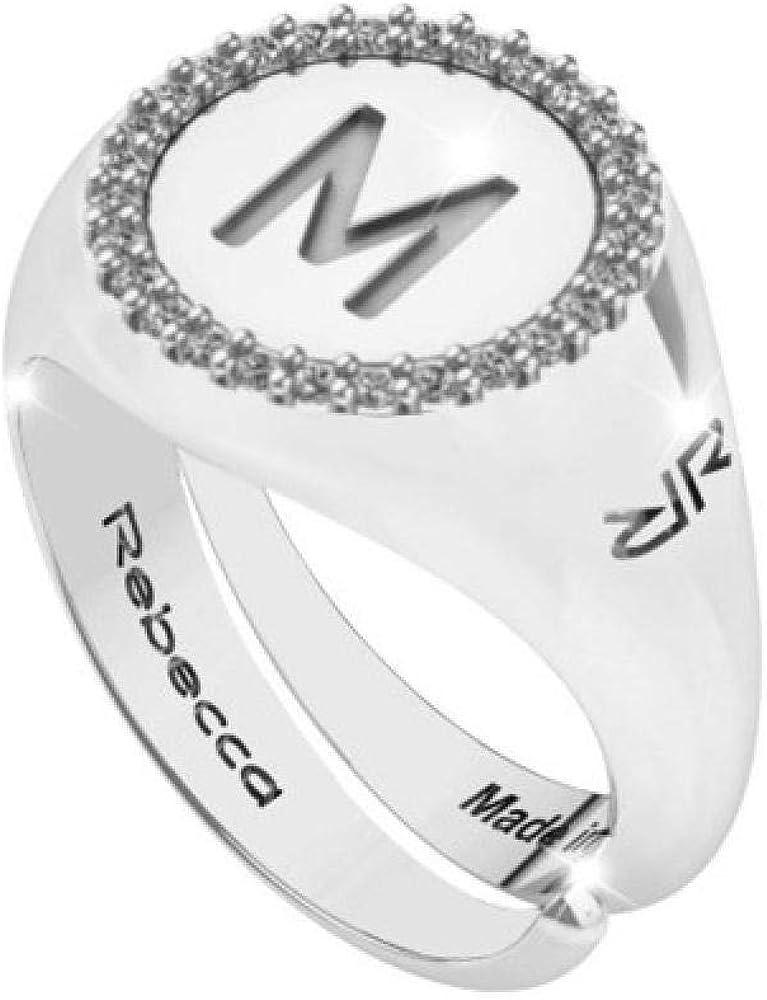 Rebecca anello donna con lettera iniziale m in argento 925 e zirconi SWRAZM63