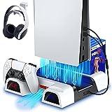 ECHTPower PS5 Ständer Halterung mit Lüfter für Playstation 5, Vertikaler Standfuß mit Kühlung für PS5/PS5 Digital Edition All-in-one PS5 Kühler mit PS5 Controller Ladestation/Headset Halterung