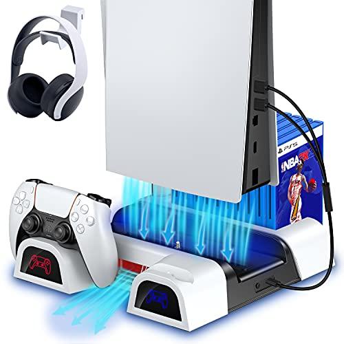 ECHTPower Soporte Vertical con 2 Ventiladores de Refrigeración para PS5, 2 Estación de Carga ,10 Juegos de Almacenamiento,1 Ranura de Control Remoto, 1 Gancho para Auriculares, Ruido Bajo