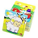 PROW® Rompecabezas de madera 16 piezas niños cuadrados juguete Elefante Panda Cachorro Pequeño cordero Nave Tren...