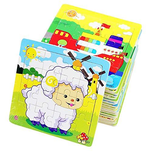 PROW® Rompecabezas de madera 16 piezas niños cuadrados juguete Elefante Panda Cachorro Pequeño cordero Nave Tren Aviones Gansos Vacas Tigre educación segura aprendizaje juguetes (12 paquetes, cada 16)