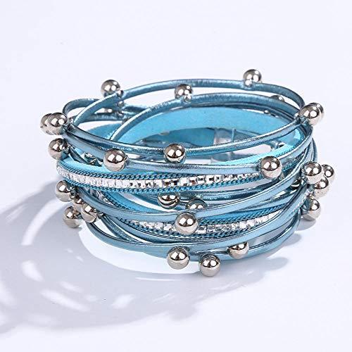 Leren damesarmband, multi-layer vintage lederen armband blauw temperament legering kralen accessoire armband dames met ingelegde zirkonia armband armband magneet gepersonaliseerde kleding accessoires sieraden