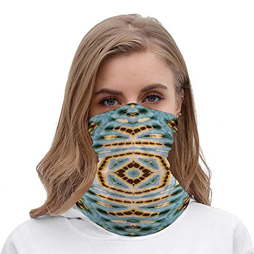 Sunscreen and breathable elastic face scarf for cycling, hiking and fishing in hot summer- Tie Dye Decor Close Hippie Motif with Maya Clan Figures Dirt Tones Counter Culture Print_Wbsdfken-190426310