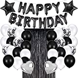 JOYYPOP Black Birthday Party Decorations Set with Happy Birthday Balloons Banner, Confetti Balloons, Foil Fringe Curtain for Birthday Party Supplies