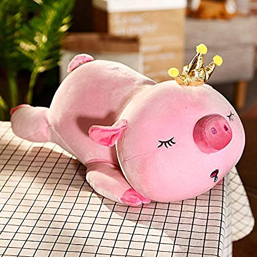 Crown Pig Toy Pink Lazy Lying Sleeping Piggy Plush Doll Ultra Soft Pig Animals Toy Niños Huggable Elastic Plush Toy (45Cm)