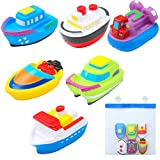 Floating Bath Squirt Toys Rubber Floating Boats Kids Bath Squirt Toys with Bathroom Sucker Mesh Storage Bag...